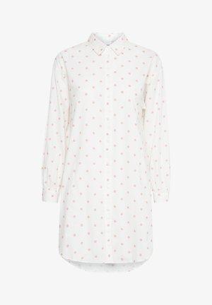 Button-down blouse - cloud dancer w. rose dot