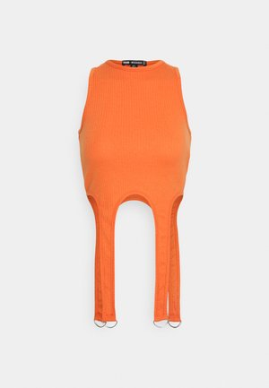 SUSPENDER DETAIL CROP  - Print T-shirt - orange