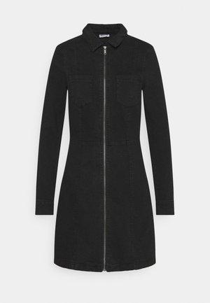 NMLISA ZIP DRESS - Denimové šaty - black denim