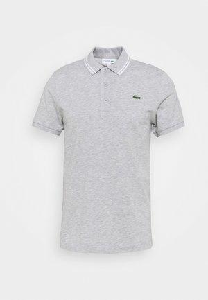 DETAILED COLLAR - Polo shirt - silver chine/white