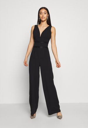 WIDE LEG LACE DETAIL JUMPSUIT - Overal - black