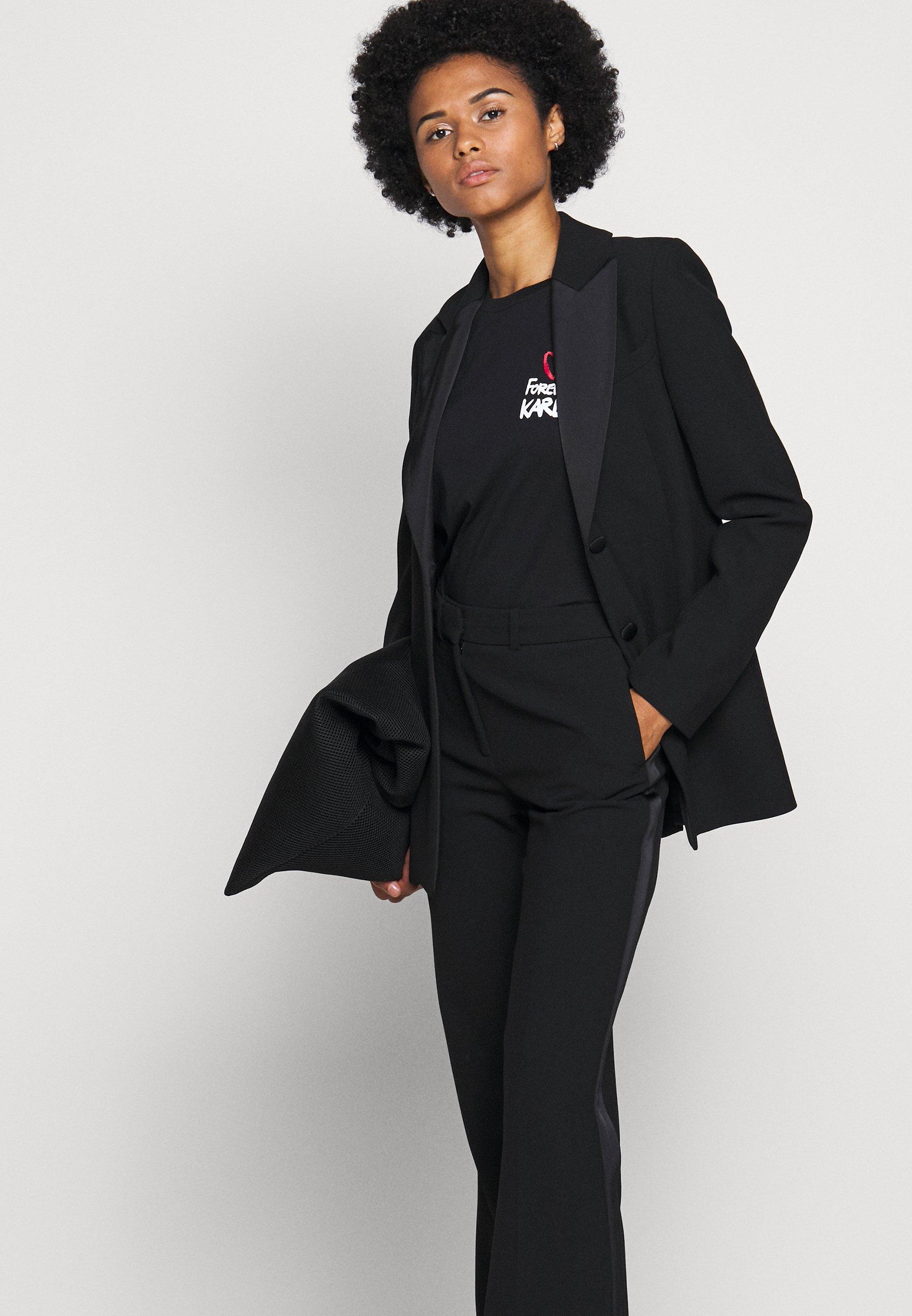 Aaa Quality Women's Clothing KARL LAGERFELD FOREVER Print T-shirt black UYUfUPRxH