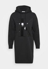 ECO LOGO HOODIE DRESS - Day dress - black