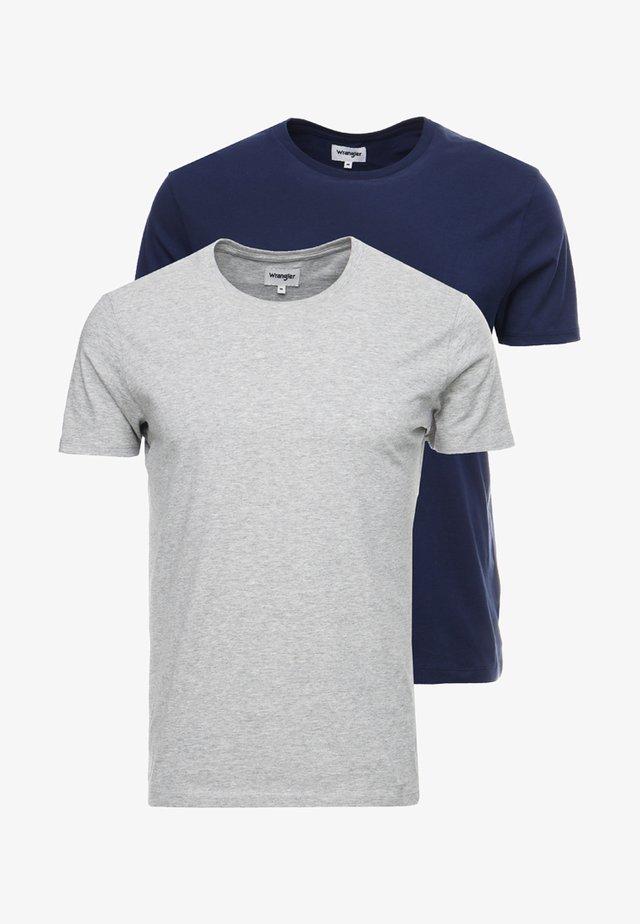 TEE 2 PACK - Basic T-shirt - mid grey melange