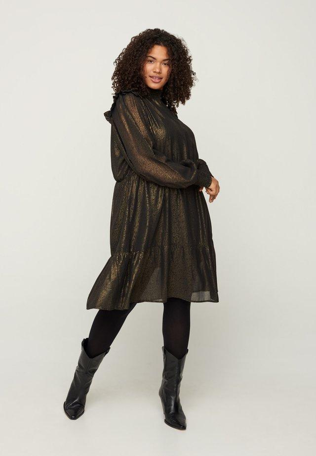 MIT SMOCK UND RÜSCHEN - Korte jurk - black