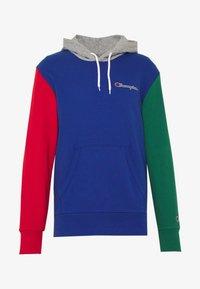 blue/red/green/grey melange