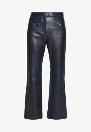 PANT - Leather trousers - navy