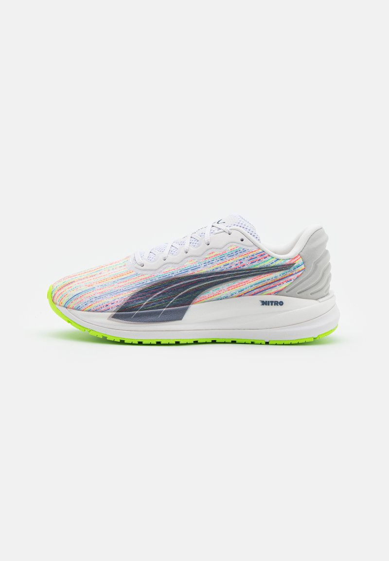 Puma - MAGNIFY NITRO  - Neutral running shoes - white/sunblaze/green glare