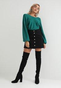 New Look Petite - BUTTON SKIRT - A-line skirt - black - 1