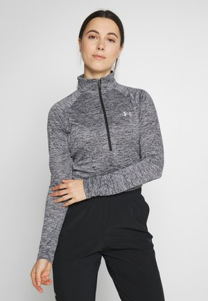 TECH ZIP TWIST - Sports shirt - black/metallic silver