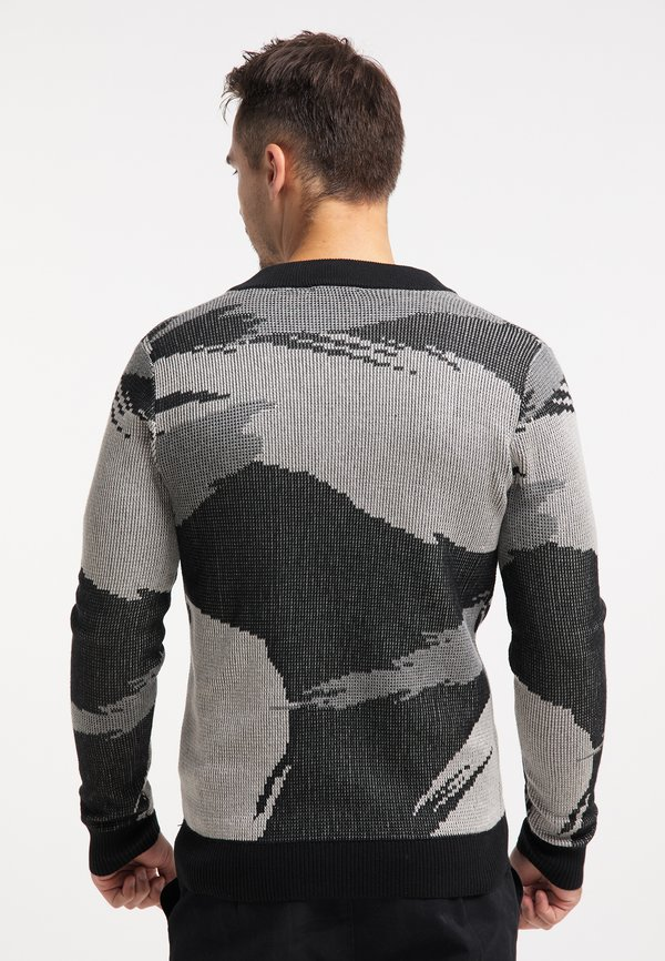 TUFFSKULL Kardigan - schwarz camouflage/wielokolorowy Odzież Męska RFNK