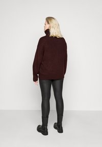 New Look Curves - FASH SLOUCHY ROLL NECK - Jumper - dark burgundy - 2