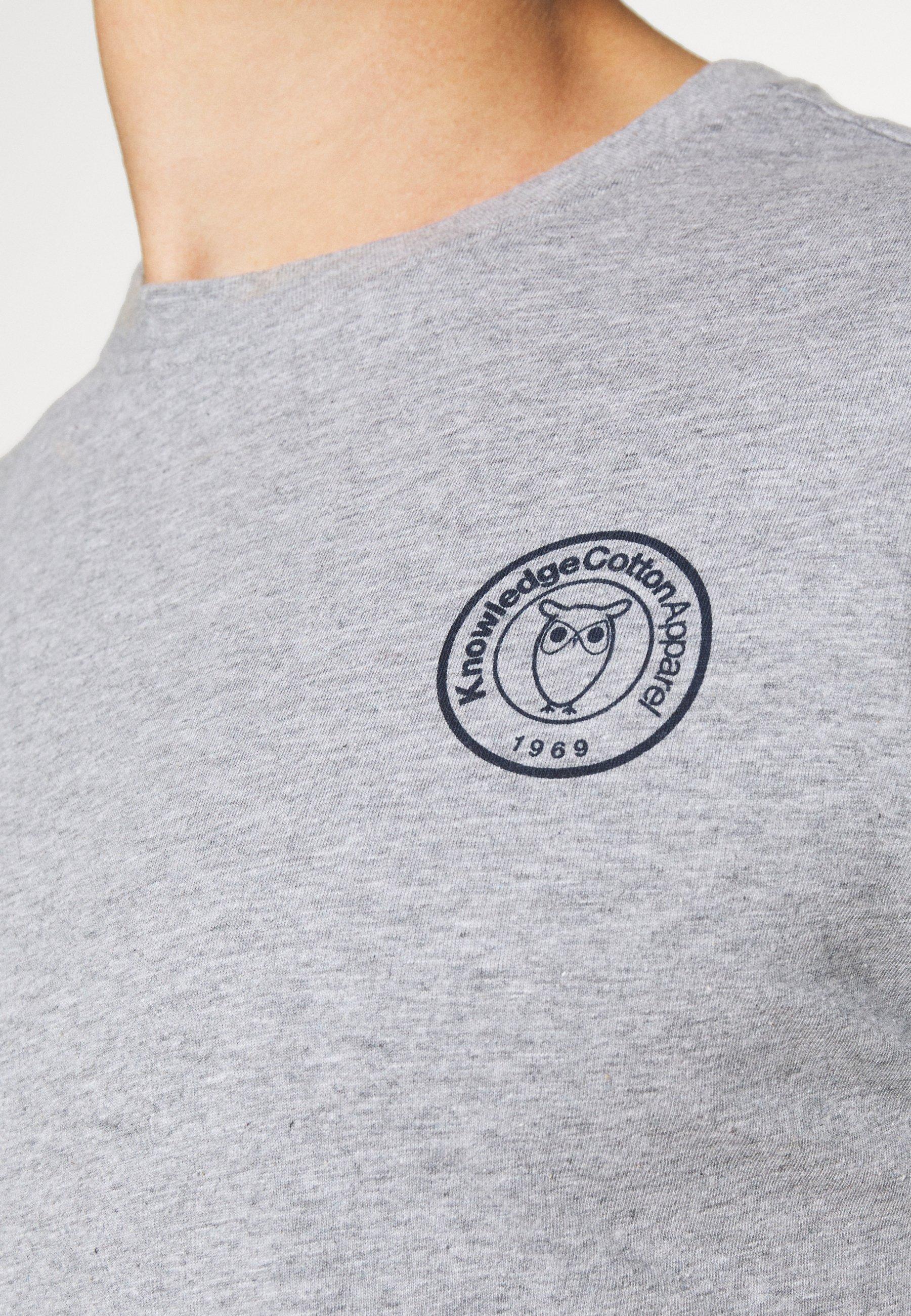Knowledge Cotton Apparel Alder Owl Badge Tee - T-shirt Print Mottled Grey