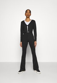 Topshop - FLARE AND TIE FRONT SET - Cardigan - black - 2
