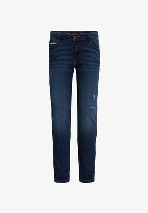 JONGENS SLIM FIT MET TAPE EN DISTRESSED DETAILS - Vaqueros slim fit - dark blue