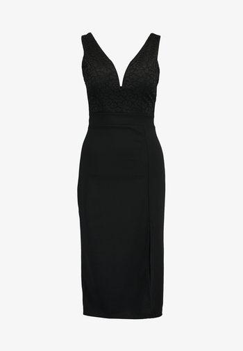 V NECK MIDI - Shift dress - black