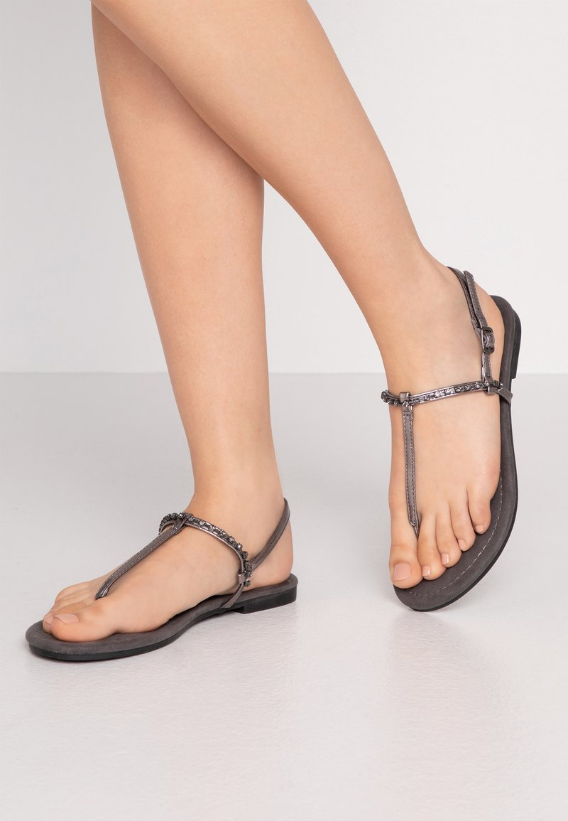 Anna Field Wide Fit - T-bar sandals - gunmetal