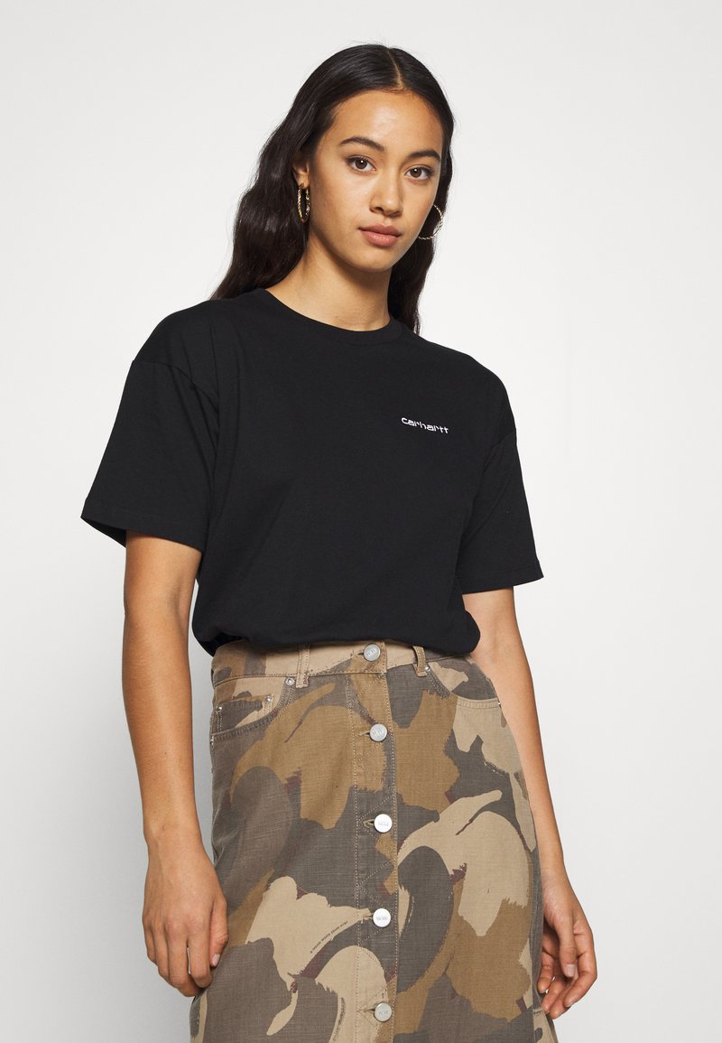 Carhartt WIP - SCRIPT EMBROIDERY - Basic T-shirt - black/white