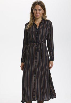 BPERLINE  - Skjortklänning - black / brown stripes