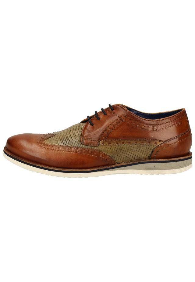 DANIEL HECHTER HALBSCHUHE - Veterschoenen - cognac / light green 6372