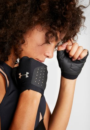 TRAINING GLOVE - Fingerless gloves - black/silver