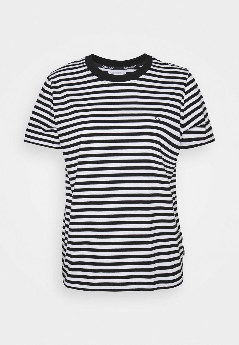 Calvin Klein - SMALL STRIPE C NECK - Print T-shirt - black/bright white