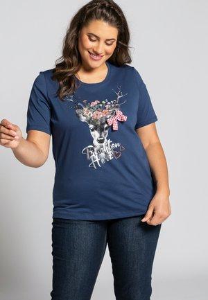 T-shirt print - donkerblauw
