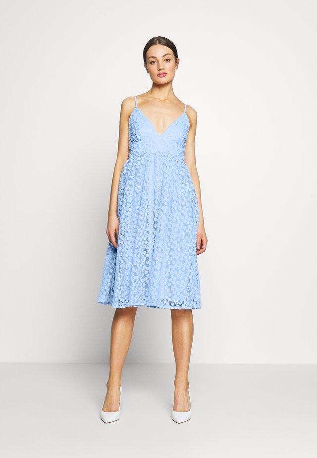 EMBROIDERED STRAP DRESS - Sukienka koktajlowa - blue
