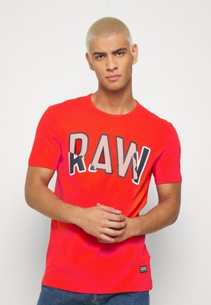 MULTI LAYER RAW GR SLIM R T S\S - Print T-shirt - bright acid