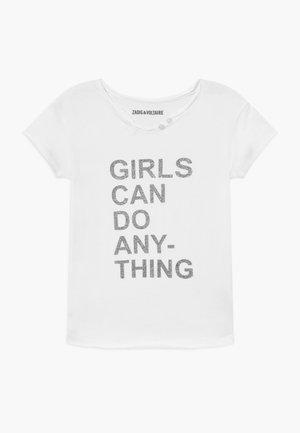 SHORT SLEEVES TEE - Print T-shirt - white/grey