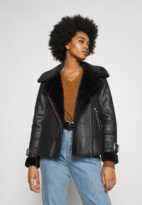 New Look - AVIATOR CHRISSY  - Faux leather jacket - black - 3