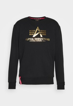 BASIC FOIL PRINT - Sweatshirts - black/yellow gold
