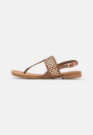 T-bar sandals - cognac/rose gold