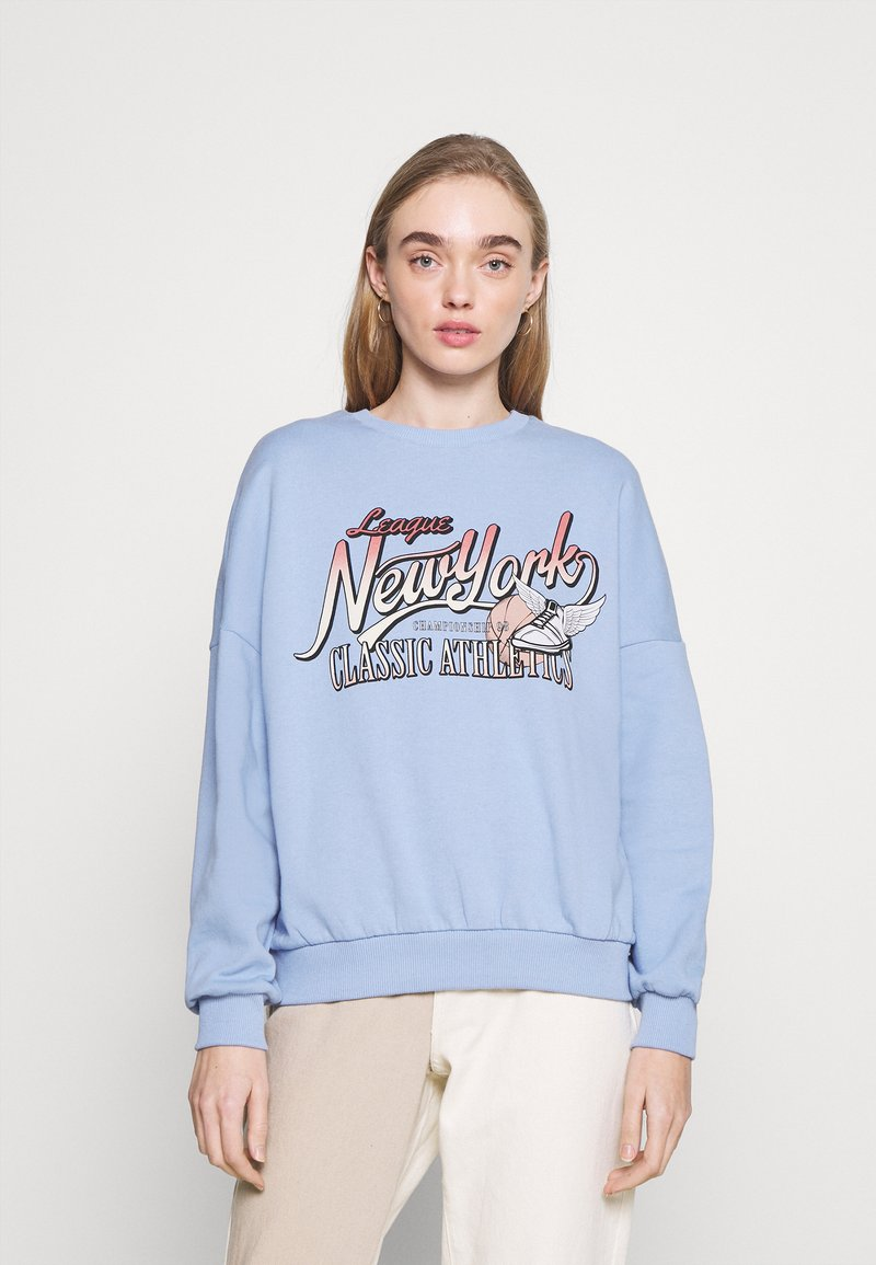 Even&Odd - Printed Crew Neck Sweatshirt - Sweatshirts - blue