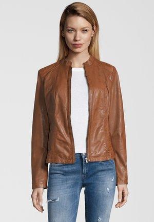 LIONA - Leather jacket - cognac