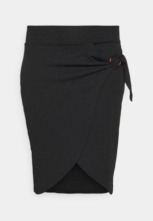 WRAP MIDI SKIRT WITH BUCKLE DETAIL - Pencil skirt - black