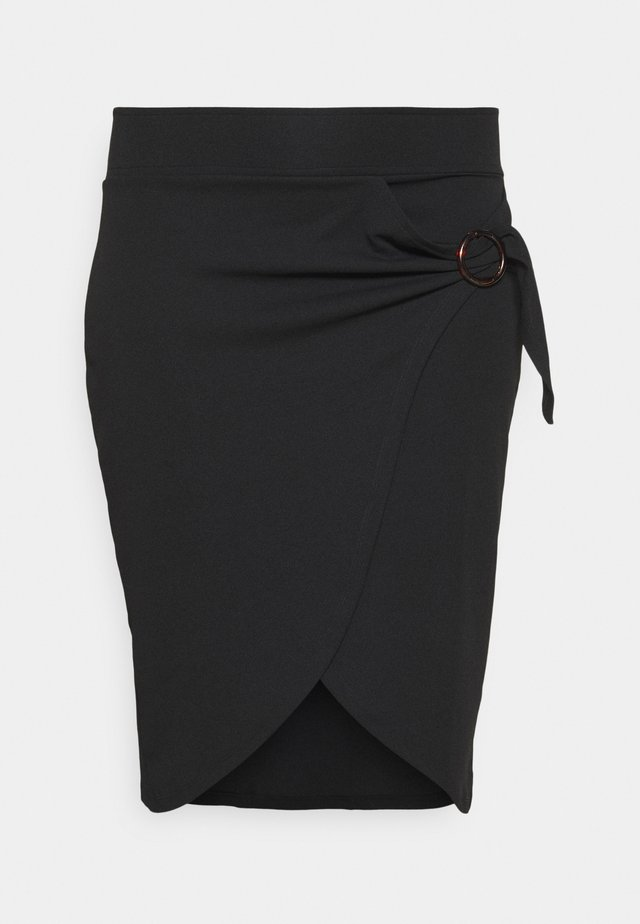 WRAP MIDI SKIRT WITH BUCKLE DETAIL - Jupe crayon - black