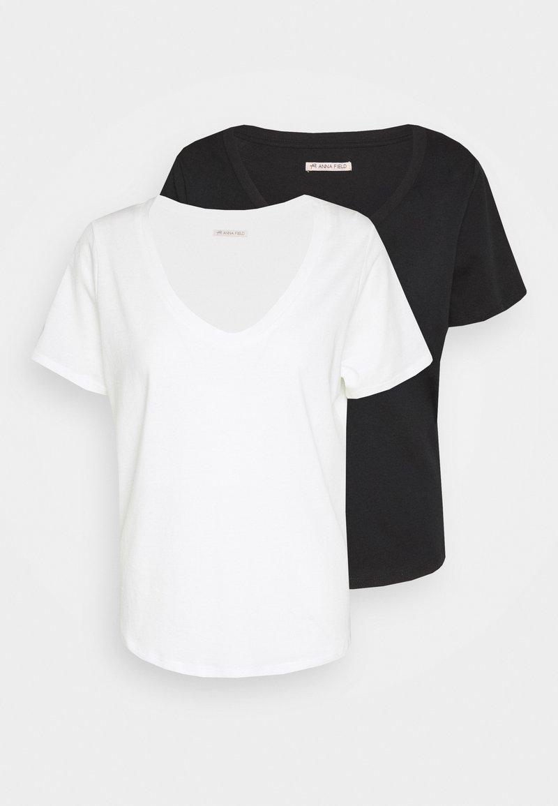 Anna Field - 2 PACK - T-shirt - bas - black/white