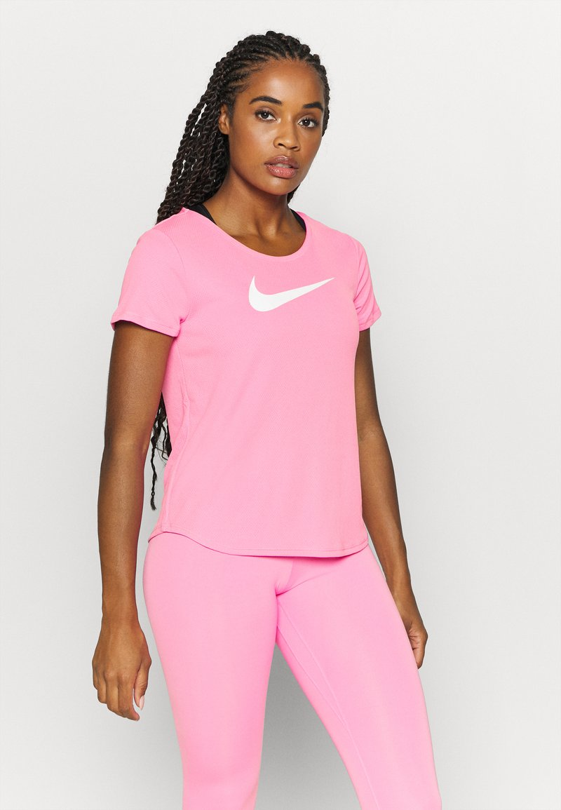 Nike Performance - RUN - T-Shirt print - pink glow/white