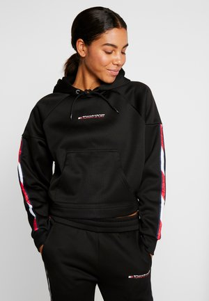 HOODY CROPPED WITH TAPE - Hoodie - black