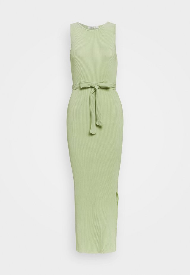 BELTED MIDAXI DRESS WITH SIDE SPLIT - Maxi dress - green