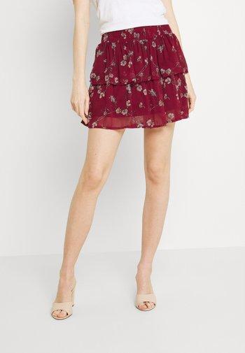 VMWONDA SMOCK SHORT SKIRT - A-line skirt - tibetan red/eliza