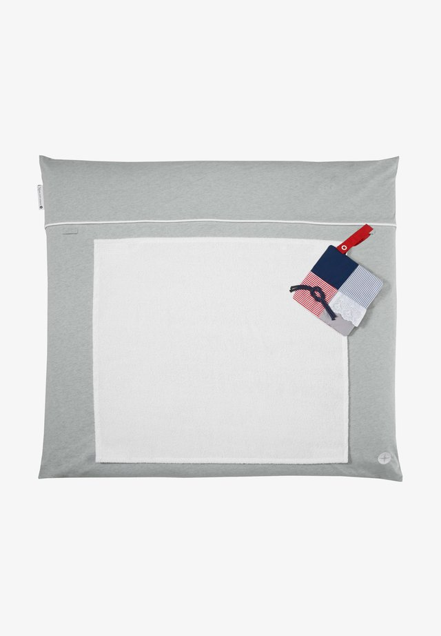 MIT ABNEHMBAREM FROTTEEHANDTU - Baby blanket - grau