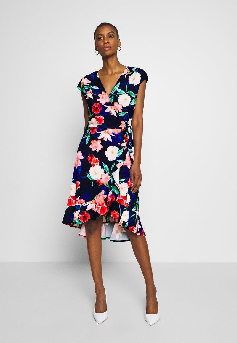 Wallis - ELECTRIC FLORAL RUFFLE WRAP DRESS - Jersey dress - ink