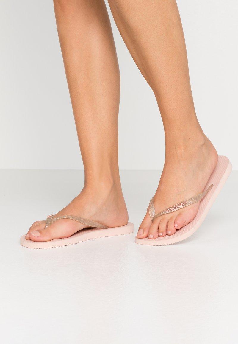 Havaianas - SLIM FIT LOGO METALLIC - Pool shoes - ballet rose
