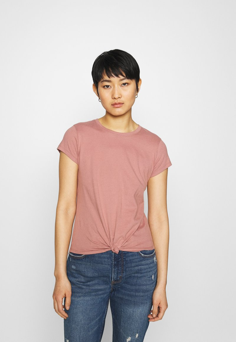 Abercrombie & Fitch - KNOTTED MIDI - Jednoduché triko - pink