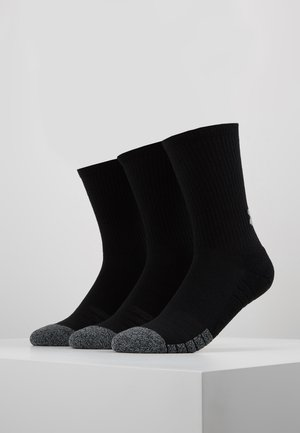 HEATGEAR CREW 3 PACK - Sports socks - black/steel