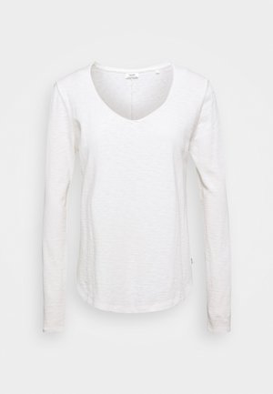 LONGSLEEVE V NECKDETAIL ON NECKLINE BASIC FIT - Long sleeved top - scandinavian white