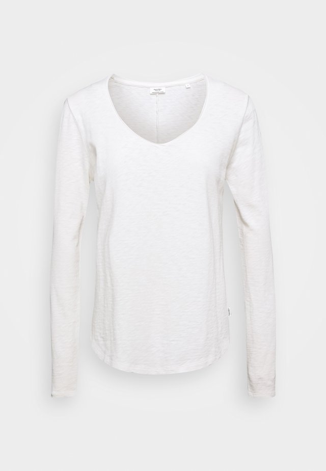 LONGSLEEVE V NECKDETAIL ON NECKLINE BASIC FIT - T-shirt à manches longues - scandinavian white