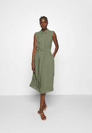 TIE WAIST MIDI SHIRTDRESS SOLID - Shirt dress - flight jacket